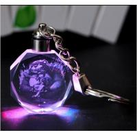 Wholesale 3d laser crystal keychain with lED light from china suppliers