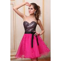 China Black Sequins Rose Organza Short Evening Party Dresses with Sash , Strapless Neckline on sale