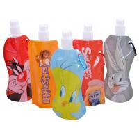 Quality 480ml Portable Soft Cartoon Flexible Foldable Drinking Water Bottle with Carbiner for sale