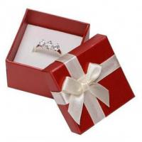 Wholesale White Ribbon Jewelry Paper Boxes Red Printing Eco Friendly Material For Ring Gifts from china suppliers