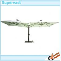 Wholesale Twin Side Cantilever Offset Patio Umbrella , Sunshade Wood Outdoor Hanging Umbrella from china suppliers