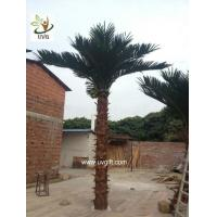 Wholesale UVG PTR017 ornamental fake coconut tree price with real bark for theme park decoration from china suppliers