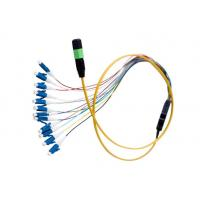 Wholesale Flat Round MPO MTP Fiber Optic Patch Cord , 12 Core Ribbon Fiber Cable OFNR Jacket from china suppliers
