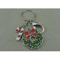 Wholesale Rhinestone Christmas Promotional Key Ring Soft Enamel Zinc Alloy Silver from china suppliers