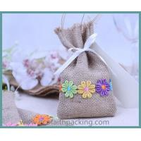 Wholesale beautiful jute candy bag, jute linen sweet bag for wedding, jute drawstring bag from china suppliers