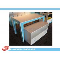 Wholesale Modern Blue MDF Retail Display Tables / Melamine Finished Shop Display Tables from china suppliers