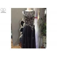 Sleeveless Black A Line Ball Gown Top Lace Yellow Beading See Through Back for sale