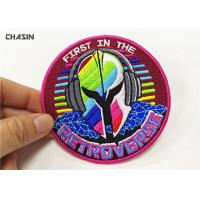 China Rock Music Clothing Embroidery Patches Round 100 % Embroidery Twill Fabric on sale