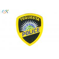 China Twill Fabric Police Embroidered Patch Iron On Backing With Yellow Merrowed Border on sale