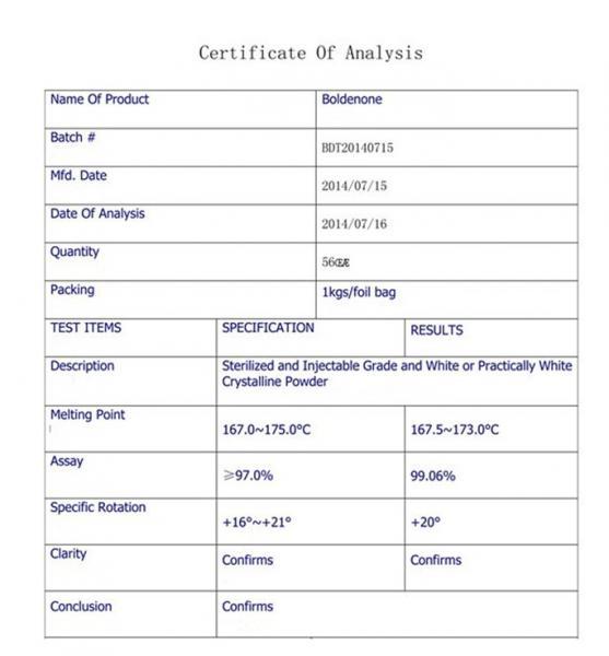Anabolic Androgenic Steroids Boldenone Steroids Powder Boldenone Base CAS 846-48-0