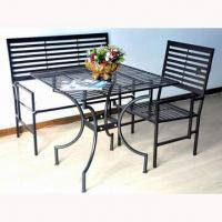 Quality Wrought iron garden furniture, includes one table with two foldable chairs  for sale