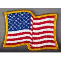 Wholesale USA Waving American Flag Embroidered Patch Iron On Gold Border from china suppliers