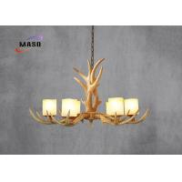 Wholesale MASO Vintage Resin Material Antlers Chandelier MS-P4002B-8 Eight Lamps Marble Cover E14 900*400mm Adjustable Chain from china suppliers