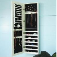 Wholesale white wall mounted mirrored jewelry cabinet from china suppliers