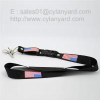 Wholesale US flag printed neck lanyards, American national flag print ribbons from china suppliers