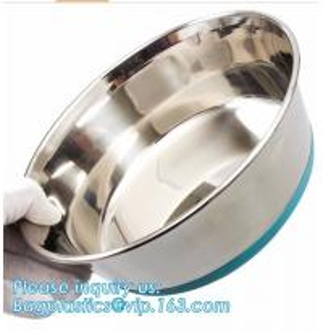 Premium Colorful Dog Water Food Bowl, Dog Food Bowls Pet Feeder Bowls with Mat, Bamboo fiber durable dog feeding covered