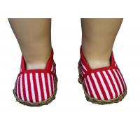 Wholesale Red And White Streak Muslin Doll Shoes For 18inch Doll , Madame Alexander Doll Shoes from china suppliers