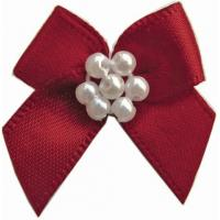 Wholesale 5cm custom satin Mini ribbon bows With Pearls high color fastness from china suppliers