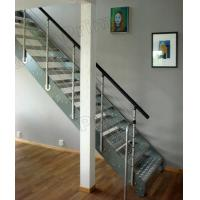 Quality glass metal straight staircases / glass stairs / metal stairway / wood stairway for sale