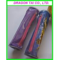 Wholesale Cylinder-shaped PVC zipper pen box, zippered pen bag, measure 205x60mm from china suppliers