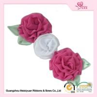 Wholesale Colorful custom rosette ribbons 5cm Handmade fabric flowers pins for clothes from china suppliers