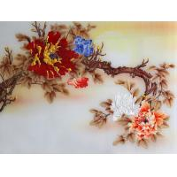 Wholesale 3D Wall Colored Opaque Decorative Glass Panels Indoor With Yellow Flowers from china suppliers