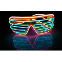 Wholesale 2 * AAA Battery Operated Neon Shutter Framed Equalizer EL Glasses With Two Different Wire Colors from china suppliers