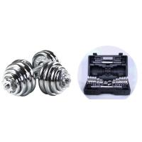 Quality Adjustable Chrome  Dumbbell Set15kg 20kg 30kg for Man Fitness Manufacture Price for sale