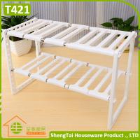Quality Easy Installation Multilayer Kithchen Plastic Telescopic Storage Shelf for sale