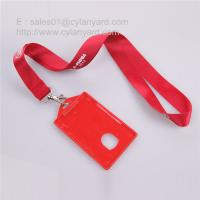 Wholesale Tailored nylon lanyard with red color hard plastic id card sleeve from china suppliers