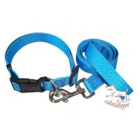 Wholesale dog leashes with collar set nylon material blue color from china suppliers
