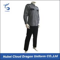 Quality Grey Black Security Guard Uniform For Hospital / Airport / Hotel Guards for sale