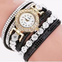 Wholesale Ladies Fashion Long Strap PU Leather Belt Diamonds Wrist Band Watch from china suppliers