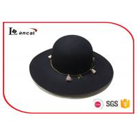 Wholesale Ladies 100% Wool Felt Hat , Beach Black Floppy Hat With Special Tassels Band from china suppliers