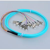Fanout FC/UPC OM3 50/125 12 cores fiber optic pigtail,bundle type,12 colors inner cable,Aqua color LSZH cable