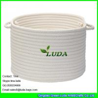 Wholesale LUDA 2015 hot sale home cotton cord storage basket white stroage bin bag from china suppliers