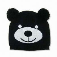 Wholesale Bear Face Beanie, Made of 100% Acrylic, Available in Various Colors from china suppliers