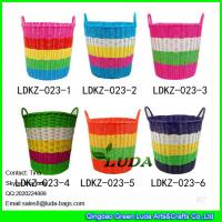 Wholesale LDKZ-033 Various candy color storage basket pp tute woven home straw laundry basket from china suppliers