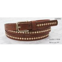 Wholesale Polished Patterns Womens Fashion Belts With Gold Buckle And Square Metal Studs 1.85cm Width from china suppliers