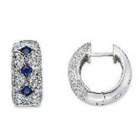 Wholesale Blue Sapphire and Diamond 14K White Gold Earrings from china suppliers