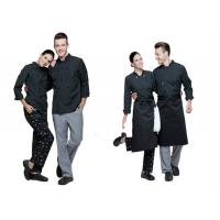 Print Logo Black Chef Uniform Full Length Vertical Pattern Design With Double for sale