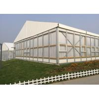 Quality Clear Span Hard Glass Wall Outdoor Party Tent With Wooden Flooring And Drapery for sale