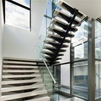 Buy cheap Mono stringer staircase design with wood tread glass railing from wholesalers