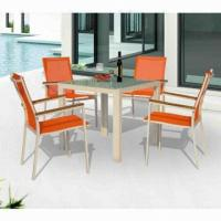 Wholesale Outdoor leisure table set with aluminum, glass top, textilene sling, 4 chairs/patio garden from china suppliers