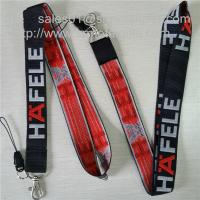 Wholesale Promotional giveaway woven lanyard with single sided jacquard logo and metal hook, from china suppliers