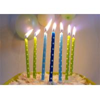 Wholesale Green Blue Printing Birthday Candles White Dots Design 24 Pcs , 24 Holders from china suppliers