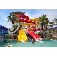 Wholesale Industrial Fiberglass Water Slides Theme Park Equipment , Customized Flatform and Length from china suppliers