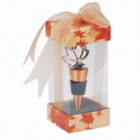 Wholesale Maple leaf-shaped zinc alloy bottle stopper in PVC box with thanking card and ribbon (souvenir gift) from china suppliers