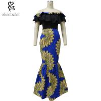 Wholesale Fishtail African Print Skirts With Peplum Top , African Print Wedding Dresses from china suppliers