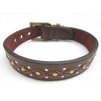 Wholesale Big leather dog collar with genuine leather 30pcs/lot good quality cheap price from china suppliers